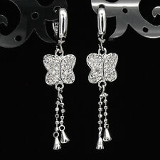 Butterfly 18K W GP White Gold Plated Dangle Earrings Costume Jewelry Wedding 366