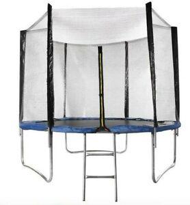 Trampoline exterieur Ø 250 cm Max 150kg Bleu Avec Filet de sécurité et échelle