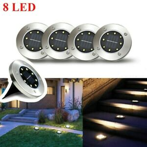 LED Solar Power Flat Buried Light In-Ground Lamp Outdoor Path Garden Decking