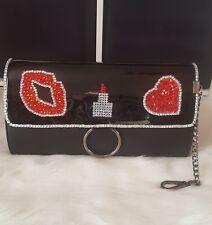 I Love Fashion Embellished Rhinestone Crystal Love Lipstick Lip Black Clutch Bag