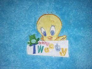 BABY TWEETY Bird Blanket Looney Tunes SOFT Cuddly Blue Fleece 30x36 Embroidered