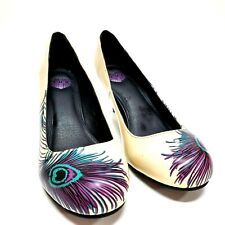 "Tuk womens Shoes Retro 2"" Heels patent- tan and turquoise. Sz 10"