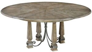 "54"" Extendable Dining Table Solid Oak Wood Wrought Iron Accents Gray"