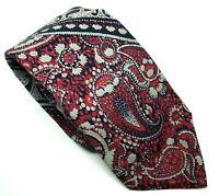 """Charles Jourdan Men's Tie Red Paisley 100% Silk 3.25"""" Width 58"""" Length"""