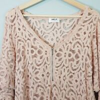 [ MELA PURDIE ] Womens Lace Top w/ zip detail - As New | Size S or AU 10 or US 6
