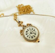 Tiny Gold Women's Watch Chaika Necklace Soviet Ruby Mechanical watch pendant