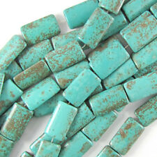 """25mm blue turquoise rectangle pillow beads 16"""" strand"""
