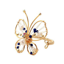 Fashion Butterfly Ring Freshwater Pearl Ring Bead Adjustable Finger Open Jewelry