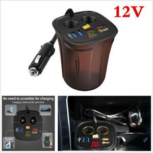Fast Car Charger+Dual USB Charging QC 3.0 Car 2 Way Cigarette Lighter Socket 12V