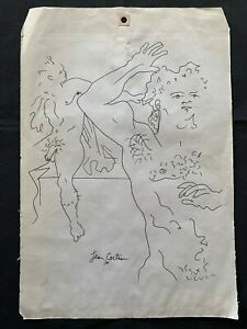 JEAN COCTEAU - PENCIL DRAWING ON ORIGINAL PAPER OF THE '30s - MUSEUM!