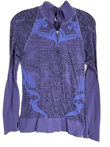 Athleta Women's 1/4 Zip Fitted Long Sleeve Top Shirt Purple Size Large