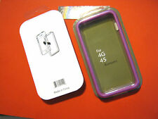 COVER CUSTODIA BUMPER IN BLISTER PER APPLE IPHONE 4 4S CORNICE VIOLA GOMMA NUOVO