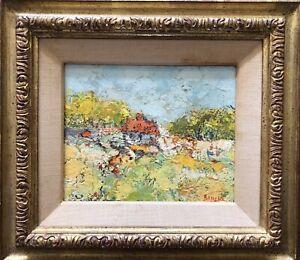 George Rene Sinicki Still Life Oil on Canvas Landscape Excellent
