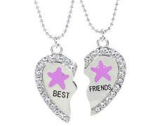 NEW BEST FRIEND Starfish Heart Silver Tone 2 Pendants Necklace BFF Friendship