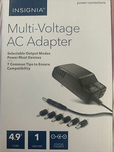 Insignia Multi-Voltage AC Adapter- 7 Common Tips NS-AC1200 NEW!