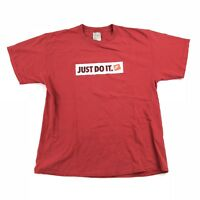 Vintage Nike Just Do It Banner T-Shirt Size Large Red Early 2000s