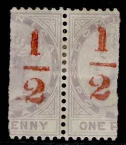 DOMINICA QV SG11, ½(d) in red on half 1d, M MINT. Cat £76+ PAIR