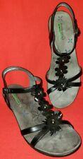 Bare Traps Hammond Women's T-Strap Sandals10M Black with Floral Accent Upfront