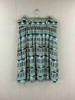 Katies Womens Blue Green Aztec Elastic Waist Regular Pleated Skirt Size 14