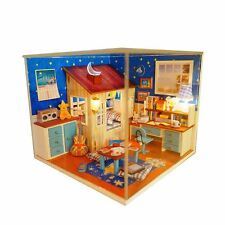 Kits Wood Dollhouse Miniature DIY House Room with Furniture+Cover Wish Upon Star