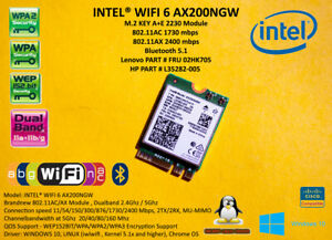Intel Wireless AX200.NGWG.NV NGFF M.2 2400Mbps FRU 02HK705 SPS L35282-005 BT5.1
