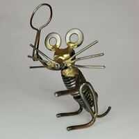 Found Object Folk Art Tennis Mouse Steampunk Metal Sculpture Nuts Bolts Springs