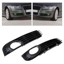 Pair Front Bumper Fog Light Low Grille Cover For Audi A8 S8 QUATTRO D3 2006-2008