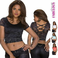 New Sexy Women's Cropped Top Hot Clubbing Party Casual Crop Shirt Size 8 10 S M