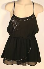 Candies Black Spaghetti Strap Top With Beads Size XS Juniors