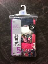 M&S Knickers Size 8 High Legs New 5 Pairs Lace Cotton Lycra Blue Pink Cream