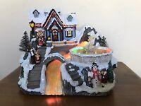Vtg Christmas Fiber Optic Musical Scene with Fountain Christmas Shop Caroling