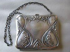 Antique Victorian Art Nouveau Floral Silver Green Sewing Card Case Purse