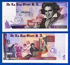 De La Rue Giori S.A Beethoven Louisenthal Purple Type Specimen Test Note Au~Unc