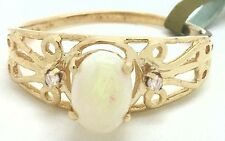 Genuine Filigree OPAL & DIAMONDS 10k Yellow Gold Ring