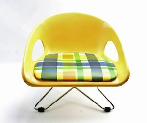 Vintage Costco Childs MidCentury Eames Style Yellow Plaid Plastic Booster Chair