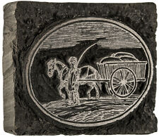 c. 1800 Printing Woodblock - Horse and Wagon