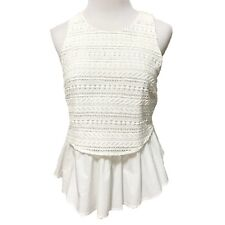 Moulinette Soeurs Womens Top Size 6 White Date Night Fitted Peplum Dressy Summer