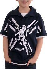 Kids Scotland Layered Polo Short Sleeve Shirt Navy Size 3-4 years