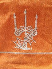 2 HALLOWEEN KITCHEN TEA TOWELS METALLIC THREAD CANDELABRA SPIDERWEB ORANGE BLACK