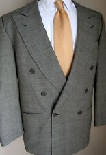 Ermenegildo Zegna Blazer 41R Black White Houndstooth Double Breast Peak Lapel