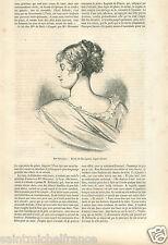 Madame Juliette/Julie Récamier Lyon Style Directoire Robe GRAVURE OLD PRINT 1860