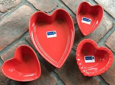 CHANTAL (4 Pieces) Red Heart Shaped Bakeware 3 cup,1-1/4 cup, (2) 1 cup