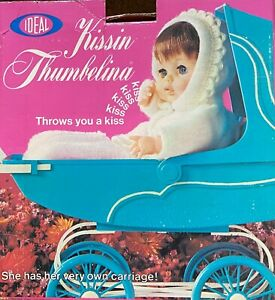 Rare In Box 1970 Ideal Kissin Thumbelina With Carriage & Blanket