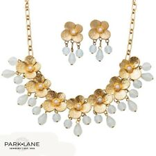 """Park Lane Jewelry,""""MAGNOLIA"""" Necklace & Earrings.Gold Blooms & Pink Droplets NEW"""