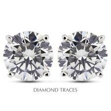 0.83ctw I-SI2 Ideal Round AGI Genuine Diamonds 14K 4-Prong Basket Earrings 4.8mm