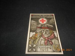 R! Sehr schön! Rotes Kreuz DRK Ortssammelkomitee Nürnberg 1915 Kriegsgefangene