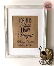 8x10 For This Child I Have Prayed / Burlap Print Sign UNFRAMED / CUSTOM /