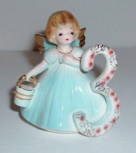 """Vintage Josef Originals 3 Year Old Birthday Angel Girl Figurine 3"""" Blue W/Basket"""