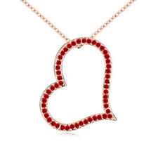Big Heart Red Cubic Zirconia Gold Plated Heart Pendant Necklace