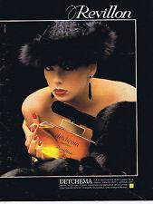 """PUBLICITE ADVERTISING 064 1983 REVILLON  """"Detchema"""" parfum"""